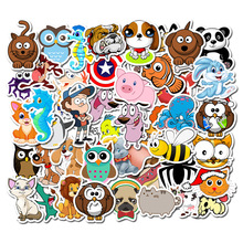 50PCS Cute Animal Stickers Kids Educational Cartoon Sticker For Travel Case Bicycle Laptop Notebook Diary Bottle Fridge Guitar