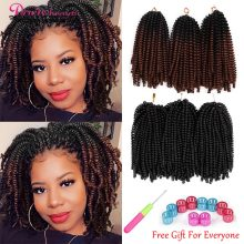 Printemps torsion cheveux Crochet tresses arc-en-ciel couleur Ombre tressage cheveux 8 pouces Extensions de cheveux synthétiques Passion torsion Tresse moelleux