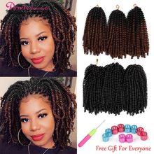 Пружинные плетеные волосы, вязаные крючком косы радужного цвета, плетеные волосы Омбре, 8 дюймов, синтетические волосы для наращивания, стра...