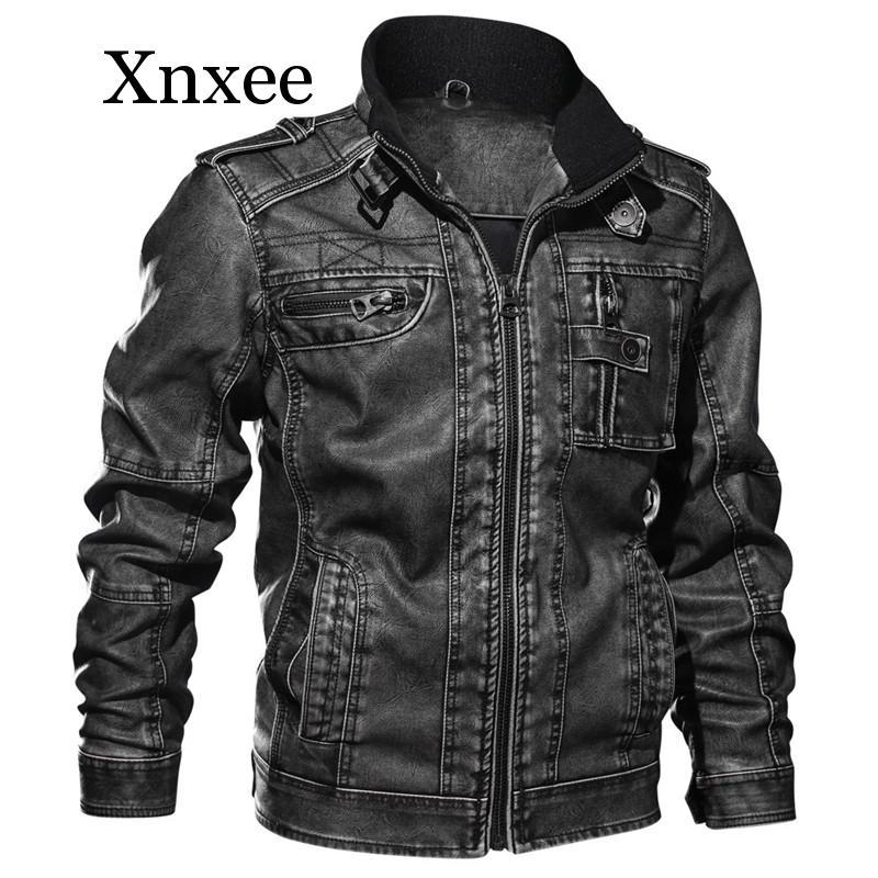 Новинка, мужская куртка из искусственной кожи, зимняя куртка в стиле милитари, куртка бомбер, осенняя модная верхняя одежда, мотоциклетная Б... - 4