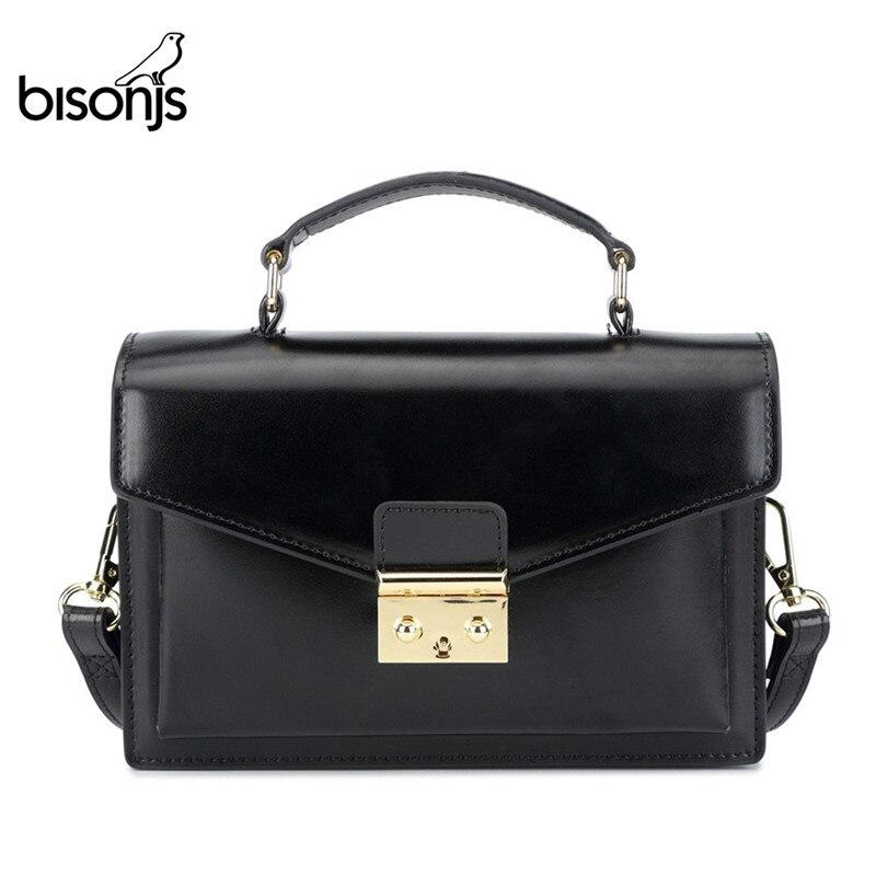 Женская сумка-мессенджер BISONJS, винтажная сумка на плечо, B1398