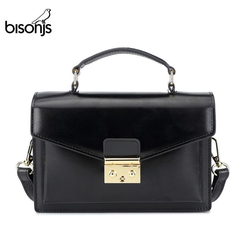 BISONJS Leather Women Handbag Luxury Handbags Women Bags Designer  Vintage Satchels Female Shoulder Bag bolsa feminina B1398Shoulder  Bags