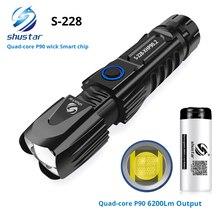 Linterna LED S228 con lámpara P90 cuenta de alta potencia 6200LM antorcha táctica impermeable control inteligente del chip con cono de ataque inferior