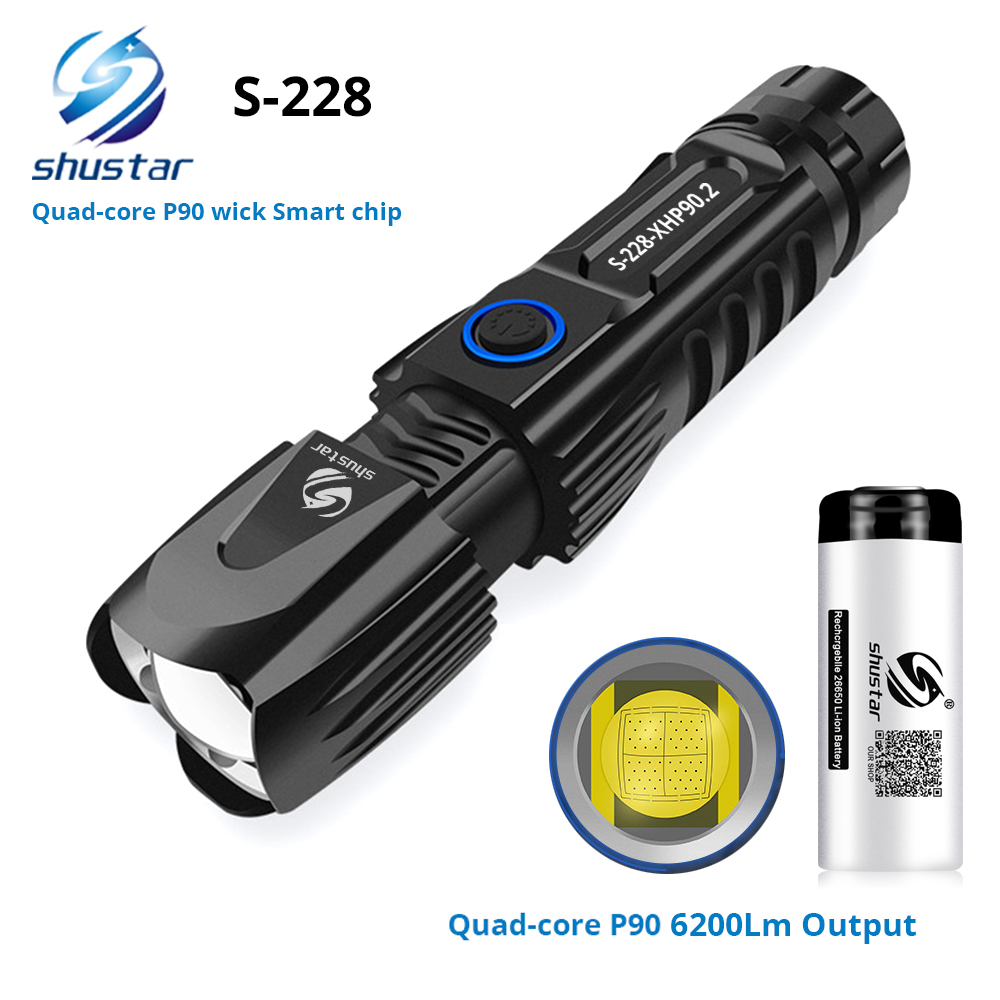 S228 مصباح ليد جيب مع P90 خرزة مصباح عالية الطاقة 6200LM التكتيكية مقاوم للماء الشعلة شريحة ذكية التحكم مع أسفل هجوم مخروط
