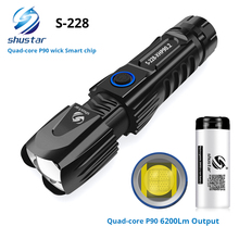 S228 led lanterna com p90 lâmpada grânulo de alta potência 6200lm tático à prova dsmart água chip inteligente controle com fundo ataque cone