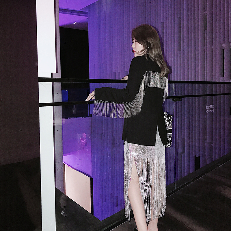 Spring Coat 2020 Fashion V-collar Long Sleeve Solid Patchwork Tassel Single Breasted Suit Coat Women V416