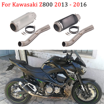 Motorcycl Exhaust Slip On For Kawasaki Z800 2013 - 2016 Z 800 Carbon Fiber Muffler Escape Modified Connection Middle Link Pipe