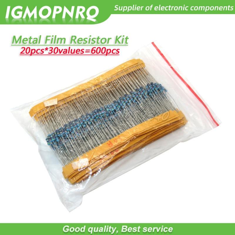 20pcs*30values=600pcs Metal Film Resistor Assorted Kit 1% 1/4W 10 Ohm ~1M Ohm Resistance IGMOPNRQ