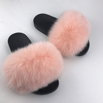 2020 Real Fox Slippers Kids Winter Fur Home Slides Girl Flop Flips Raccoon Fluffy Cute Flats Beach Children slippers Boys shoes