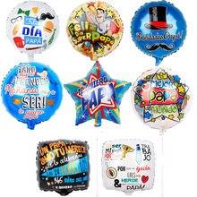 10 pçs/lote Espanhol pai dias 18 polegadas Feliz Super Papai Dia Folha Globos Balões de Hélio para Decorações da Festa de Aniversário Do Pai