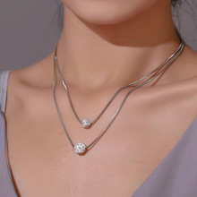 цена на Luokey Silver Color Crystal Ball Necklace For Women Korean Layered Clavicle Chain Necklace Wedding Jewelry Collares De Moda 2020