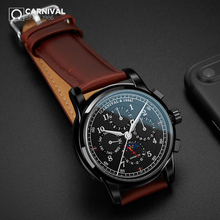 CARNIVAL Genuine Leather Pilot Automatic Watch Men luxury br