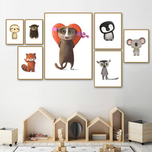 Cartoon Animals Cute Penguin Raccoon Wall Art Canvas Painting Nordic Posters And Prints Pictures For Living Room Decor