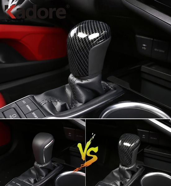 For Toyota Camry 2018 2019 2020 Carbon Fiber AT Car Gear Shift Knob Head Cover Trim Interior Accessories Car Sticker Styling