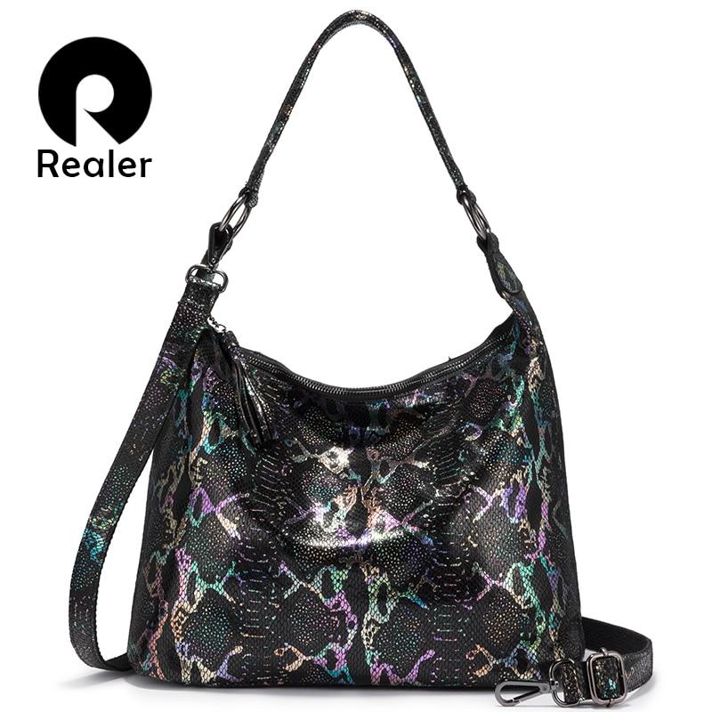 REALER Shoulder Bags For Women 2019 Genuine Leather Luxury Handbag Designer Large Hobos Bag With Tassel Animal Prints Women Bag