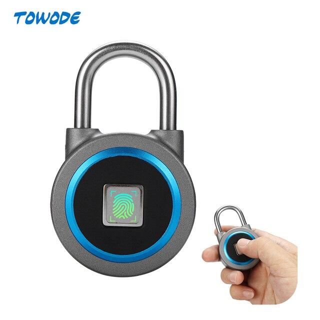TOWODE נייד חכם עמיד למים Keyless מנעול APP בקרת אנדרואיד IOS טלפון Bluetooth טביעות אצבע נעילת דלת מנעול