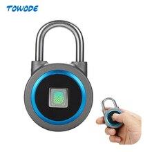 TOWODE  Portable Smart Waterproof Keyless Lock APP Control Android IOS Phone Bluetooth Fingerprint Unlock Door PadLock