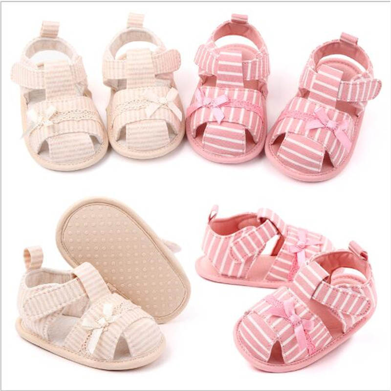 2020 New Baby Cotton Shoes Lovely Striped Infants First Walkers Fashion Summer Newborn Girls Princess Shoes
