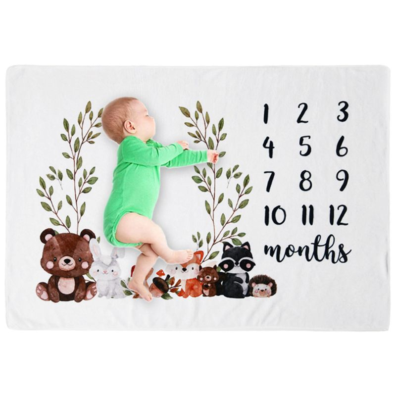 Baby Monthly Record Growth Milestone Blanket Newborn Cute Animal Pattern Photography Props Photo Creative Background