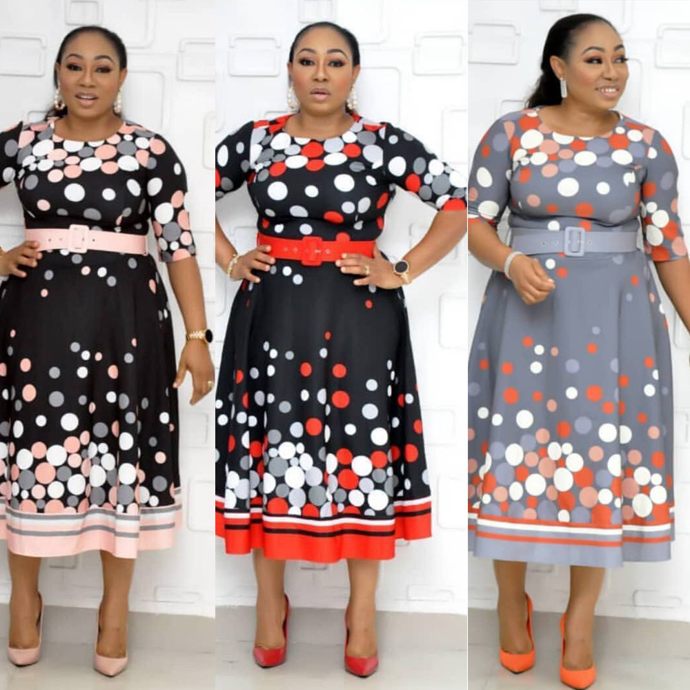 2019 New Arrival Autumn Elegent Fashion Style African Women Printing Polyester Plus Size Dress L-3XL