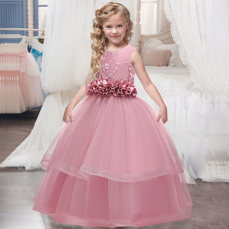 New Flower Girl Wedding Dinner Party Embroidered Long Dress Girl Graduation Feast First Dance Long Dress Vestidos De Fiesta