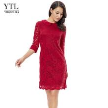 YTL Christmas Dress Women Vintage Elegant Dinner Party Dresses Burgundy Lace Doll Collar Plus size Dress 5XL 6XL 8XL  H263