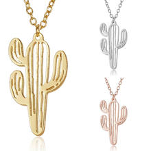 2020 Newest Creative Boho Hollow Cactus Necklaces Pendants Women Natural Plant Jewelry Chain Choker Elegant Cactus Necklace(China)