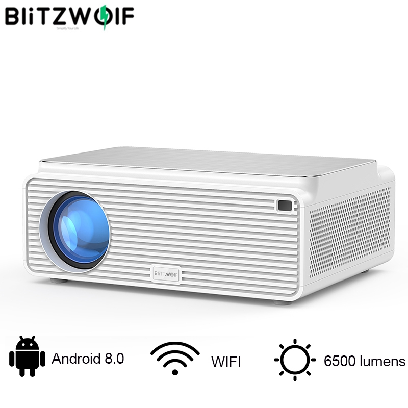 Blitzwolf BW-VP3 LCD Projector 380 ANSI 6500 Lumens Android 8.0 16GB bluetooth 4.0 RJ45 LAN 4K Resolution Home Theatre System(China)