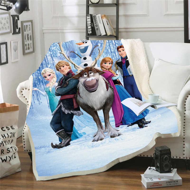 Disney Frozen koc ciepłe dzieci dzieci koc kanapa kapa na kołdrę podróż pościel wylot aksamitny pluszowy rzut koc z polaru