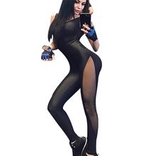 Kobiety seksowna odzież sportowa Mesh Blackless Patchwork jednoczęściowy zestaw do jogi czarny kombinezon sportowy Fitness dres treningowy kombinezon gimnastyczny tanie tanio yuerlian CN (pochodzenie) Akrylowe WOMEN Bez rękawów Yoga Pasuje prawda na wymiar weź swój normalny rozmiar Stałe