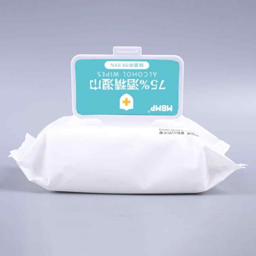 60PCS Wet Wipes Disposable White Home Car Disposable Portable Cleaning Wet Wipes Tissue Napkins 75 Alcohol