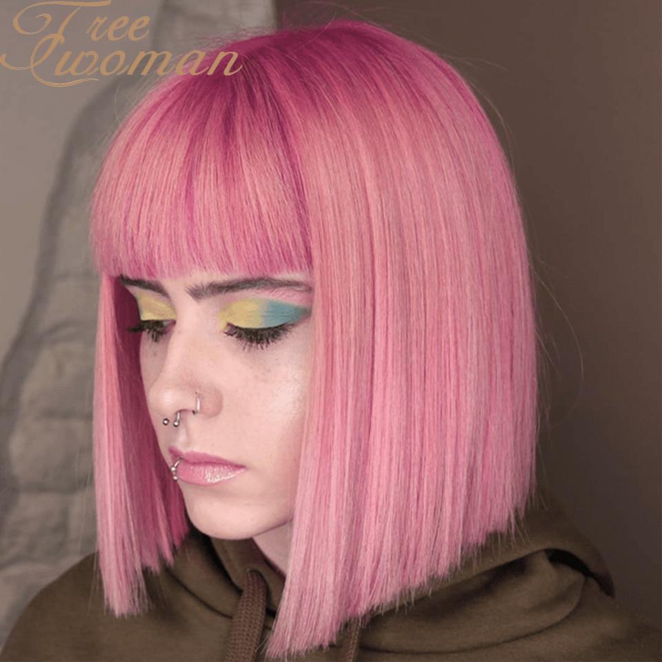 FREEWOMAN 12-дюймовый короткий парик Боб с челкой розовые синтетические парики боб для женщин искусственные волосы удлинение фиолетовый черный ...