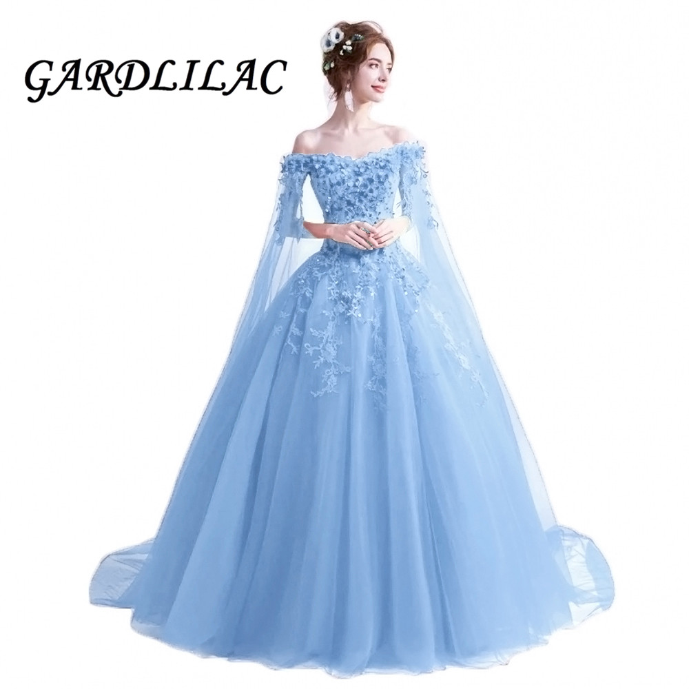 Gardlilac 2020 Red Off The Shoulder Evening Dress Ball Gown Quinceanera Dresses Lace  Applique Light Blue Wedding Prom Dress