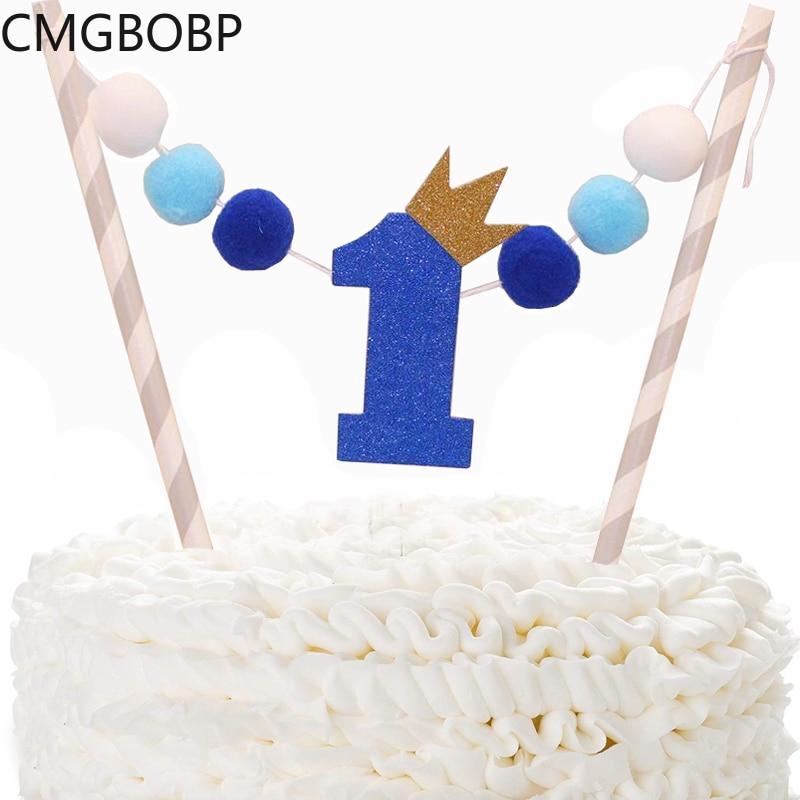 Marvelous Handmade Pompon Baby Shower Cake Topper 1St Birthday Boy Girl Cake Personalised Birthday Cards Veneteletsinfo