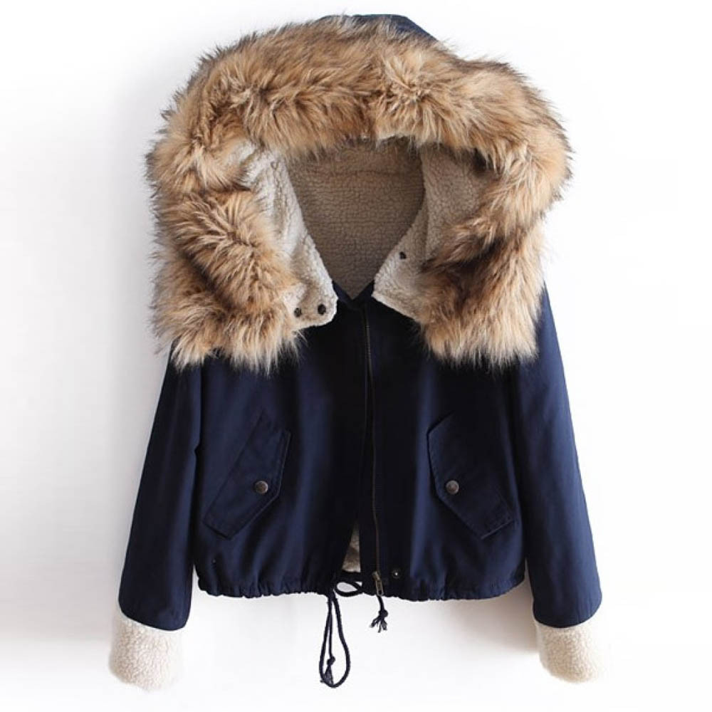Women Winter Fleece Long Sleeve Cotton Hooded Short Warm Zipper Pocket Jacket Coat Female Turn down Collar Short Coat Outerwear on AliExpress