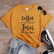 ONSEME Coffee and Jesus T Shirt Gets Me Started Keeps Going Slogan Shirts Women Religious Christian Tees Tops