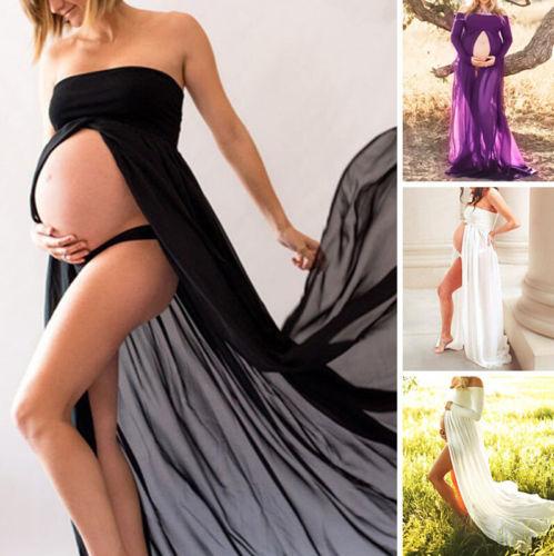 Summer Pregnant Women Photography Props Dresses Off Shoulder Dress Shoulderless Maternity Clothings