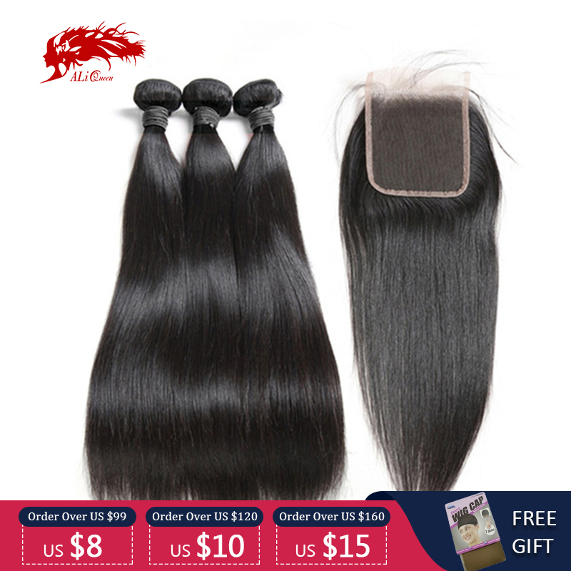 Ali Queen Hair 3/4pcs Peruvian Straight Remy Human Hair Bundles With Closure 4x4/5x5/13x4 Swiss Lace Closure Free Part