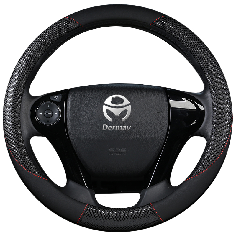 DERMAY PU Leather Steering Wheel Cover for Honda Accord 4 5 6 7 Honda Crosstour Non slip easy install Massage Design Car Styling Steering Covers     - title=