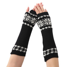Women Fingerless gloves Winter autumn Knitted Wrist Arm warm Mangas Warmer Solid Knitted Long Fingerless Gloves Mitten guantes цена