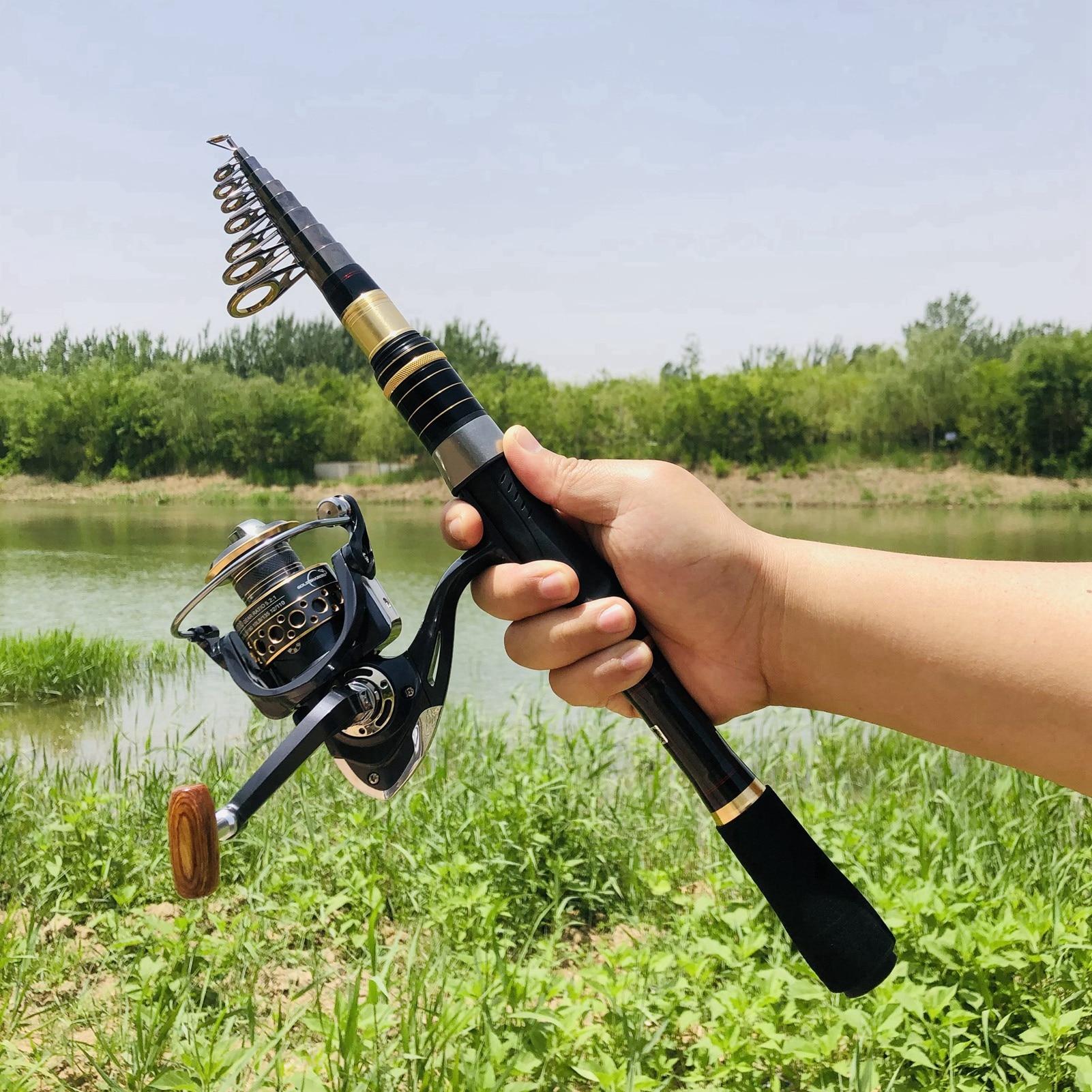 1.8m2.1m2.4m2.7m3.0m3.3m Carbon Portable Fishing Rod Spinning Rod and Reel set Rod Reel Combos carp Fast long shot sea fishing