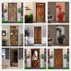 2PCS/SET Door Sticker PVC Self-adhesive Waterproof 3D Removable Home Decor Wine Shelf Decals DIY Wall Art Mural stickers porte