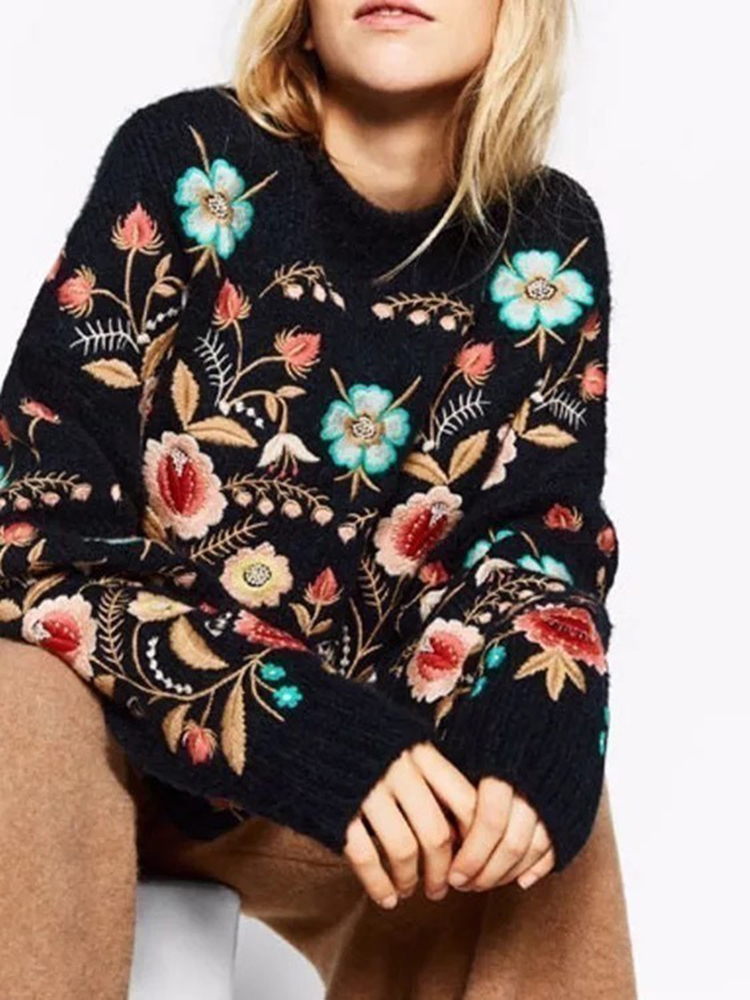 LANMREM Sweater Embroidery-Top Flowers Collar Long-Sleeve Autumn Woman's New-Fashion