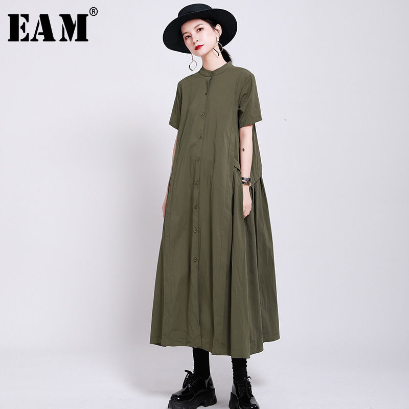 [EAM] Women Army Green Pleated Long Shirt Dress New Stand Collar Short Sleeve Loose Fit Fashion Tide Spring Summer 2020 1W19