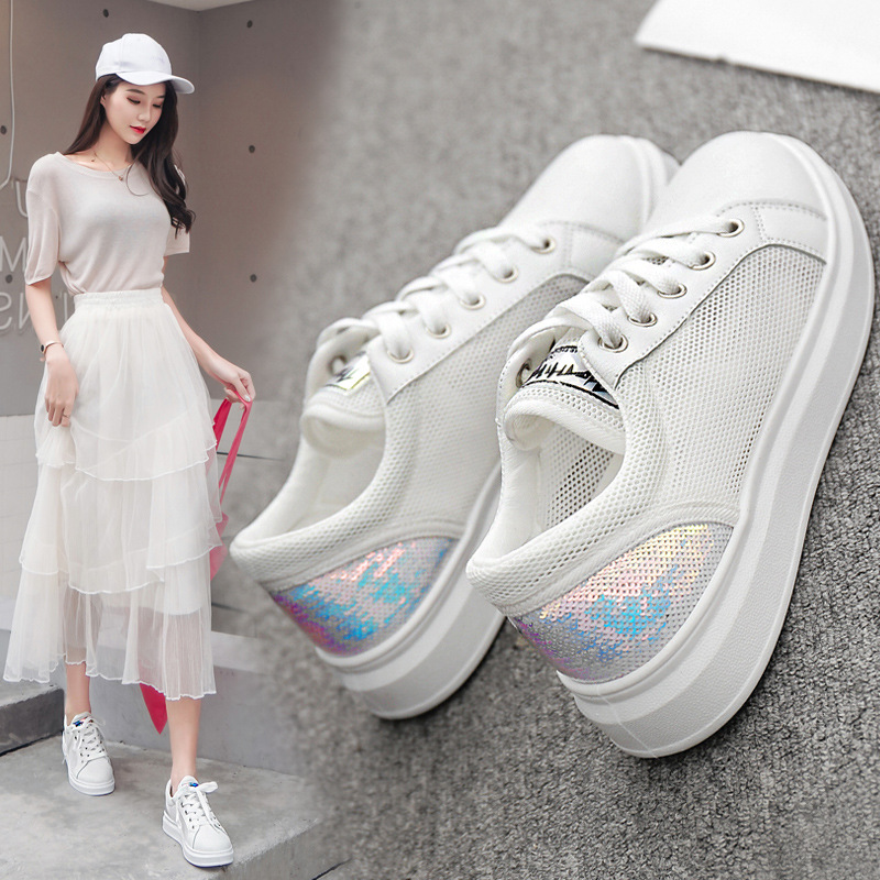 Casual Shoes Women Sneakers  Fashion Rhinestone Platform White Sneakers For Women Breathable PU Leather Shoes Tennis Female