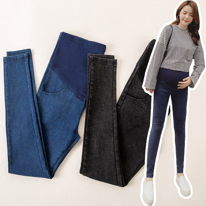Spring Maternity Pants Maternity Clothes Washing Feet Support Abdominal Pants Elastic Support Abdominal Cowboy Pants Maternity