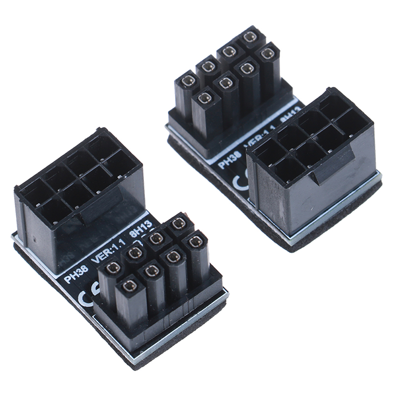 ATX 8pin Male 180 Degree Angled to 8 Pin Female Power Adapter for Desktops Graphics Card