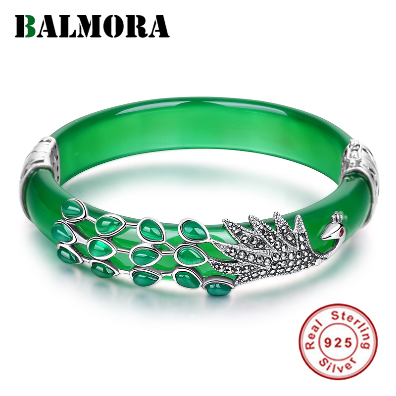 BALMORA Solid 925 Sterling Silver Chalcedony Peacock Animal Bracelet For Women Gift Thai Silver Fashion Vintage Jewelry-in Bangles from Jewelry & Accessories    1