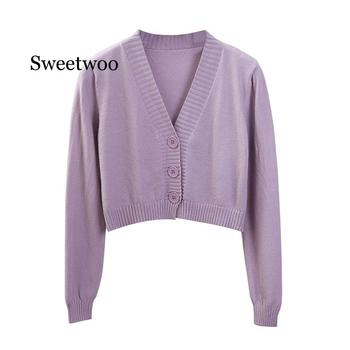 Women's Cropped Cardigan Sweaters Female Black White Short Sweater V Neck Single Breasted Sweater Woman Knitted Cardigan цена 2017