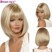 Dream.Ice's White Women Synthetic Full Wigs Short Straight Bob Hairstyle Blonde HighLights Hair Wig Heat Resistant Free Shipping